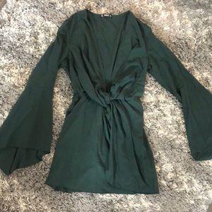 Dark green bell sleeve low v cut long sleeve dress